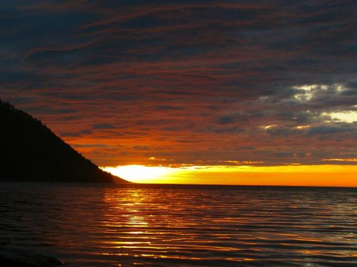 baikal,sunrise,morning,clouds,the sun,lake,dawn,water,nature