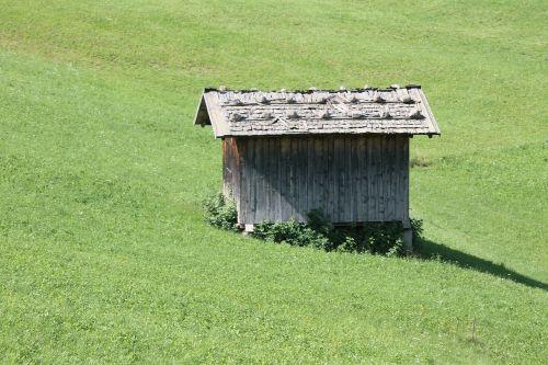 baita,log cabin,grass,green,mountain,hut
