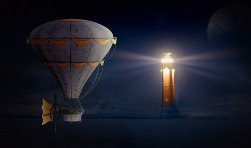 balloon lighthouse night sky