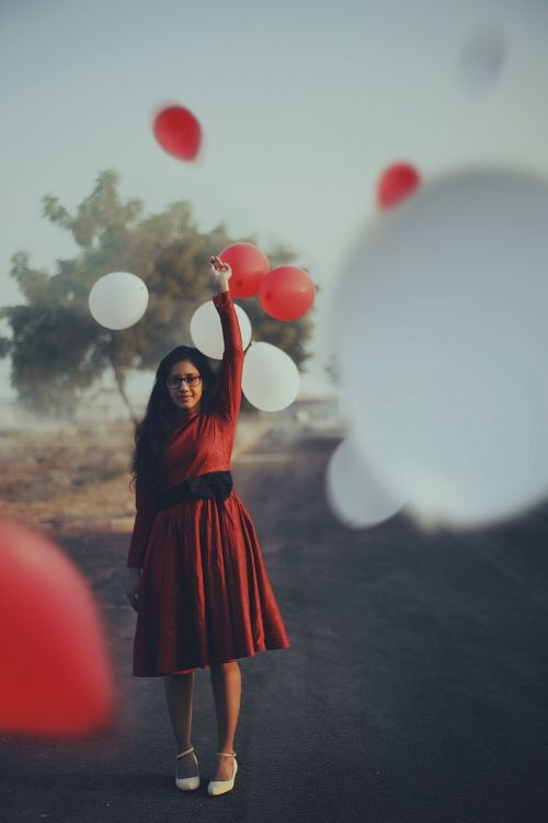 balloons woman colorful
