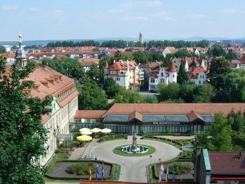 bamberg,gastronomija,residenzschloss,kiemas,apatinė smėliaslė,daugiaaukštė automobilių stovėjimo aikštelė