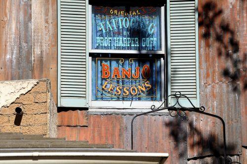 banjo, pamokos, langas, senas, Vakarų, langinės, vintage, instrumentas, muzika, Senovinis, Banjo pamokos pasirašo langą
