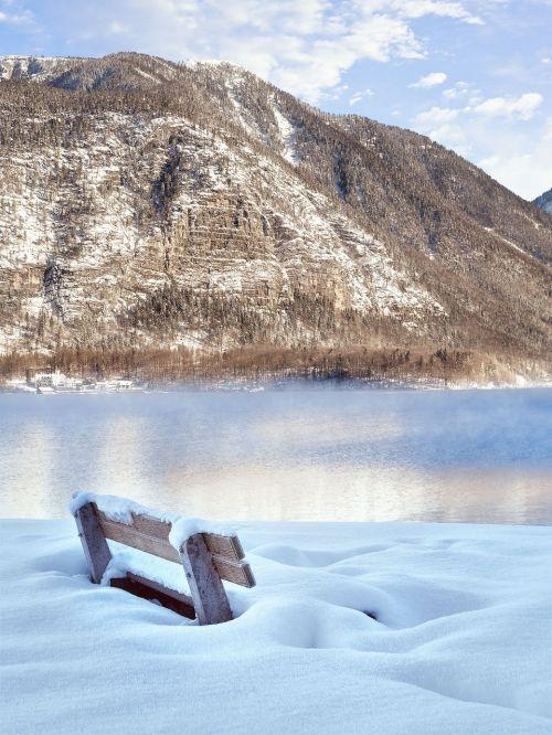bank winter lake