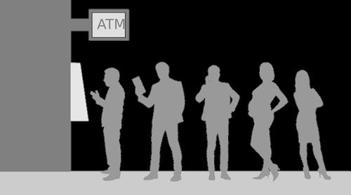 bank  queue  person