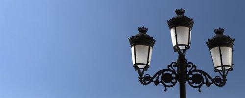 banner  street lamp  sky