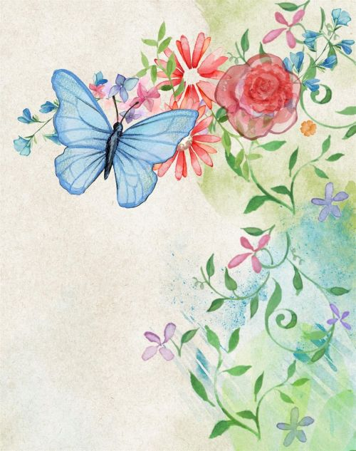 Banner Web Flowers With Butterfly