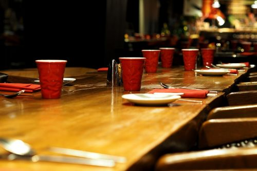 banquet dining table glass