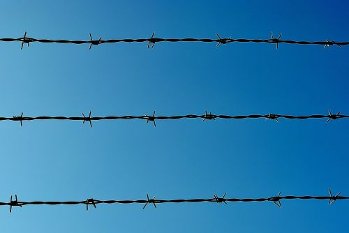 barbed wire border barrier