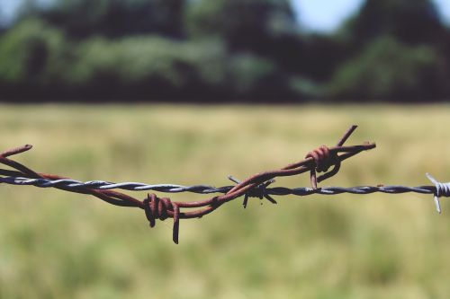 barbed wire fence metal