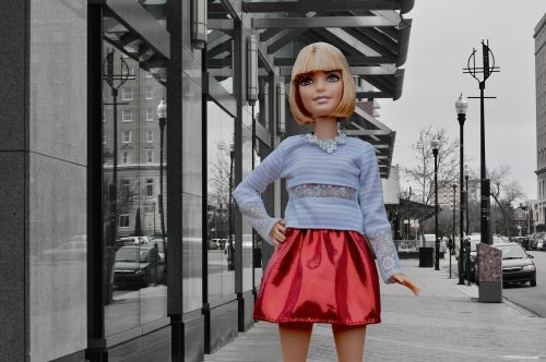 barbie doll posing city