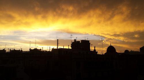 barcelona sunset city
