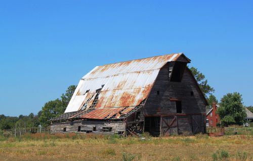 barn tin roof fading history