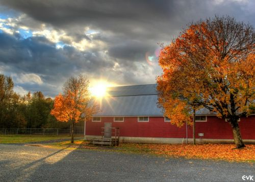barn red sunset