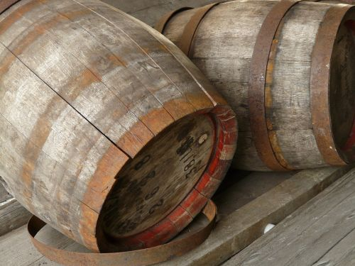 barrels wooden barrels wood