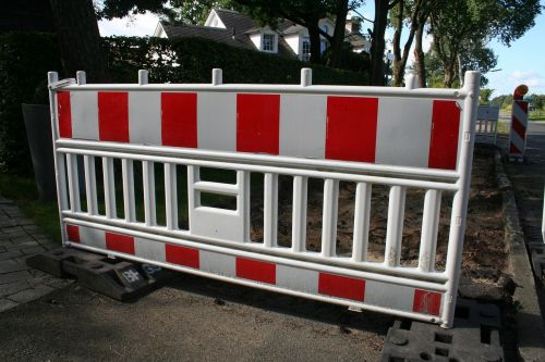 barrier red white construction fence