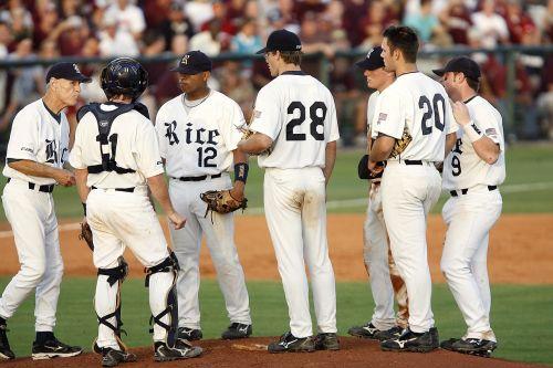 baseball team meeting on mound
