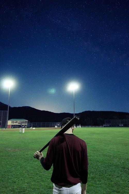 baseball player stadium