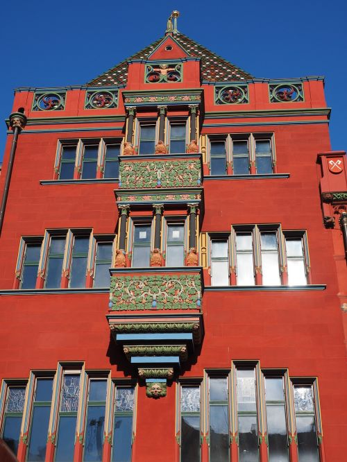 basel city hall balcony looking facade