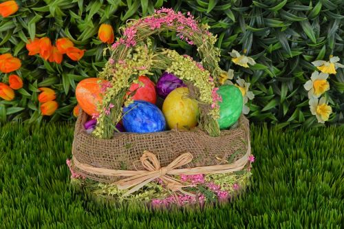 basket easter eggs easter