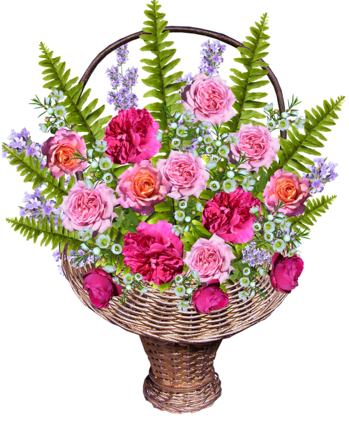 basket with roses ferns