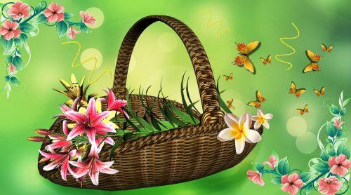 basket of flowers flower arrangement lilies
