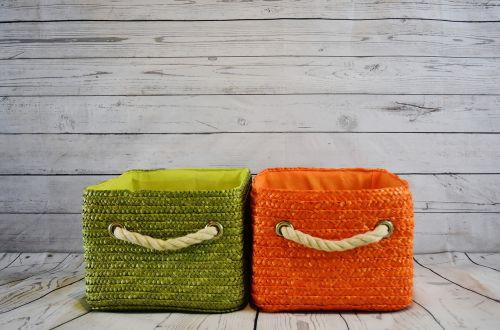 baskets orange green