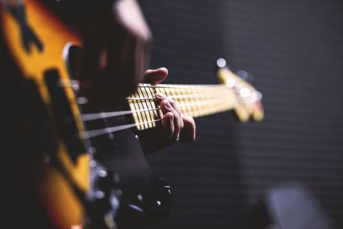 bass guitar chord close-up