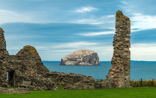 bass rock  tantallon castle  scotland