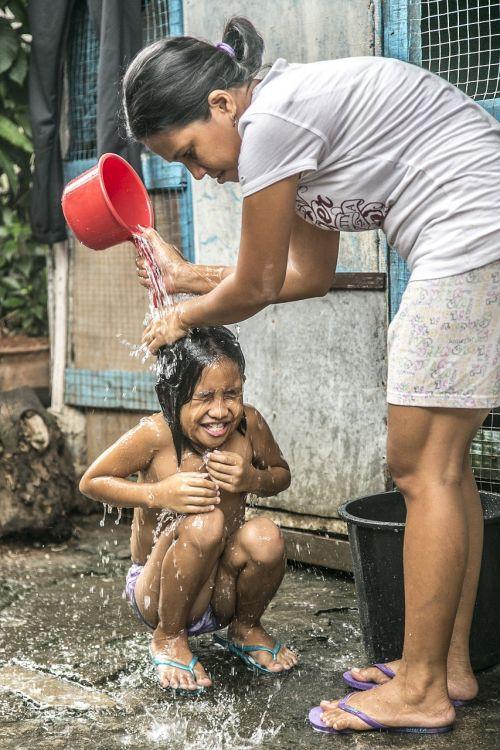 bath shower children mother
