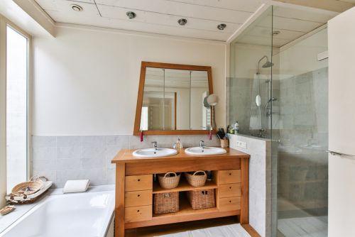 bathroom wood furniture shower