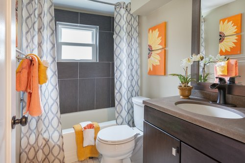 bathroom  staging  curtains