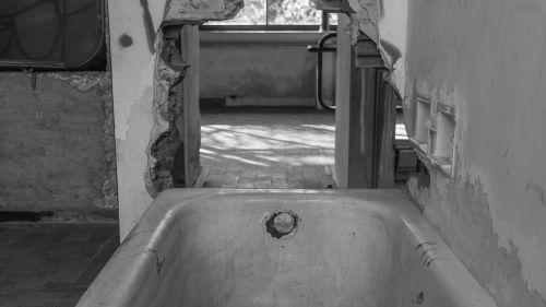 bathtub black and white contrast abandonment
