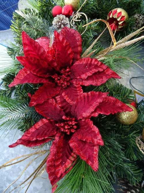 Baubles And Christmas Flowers