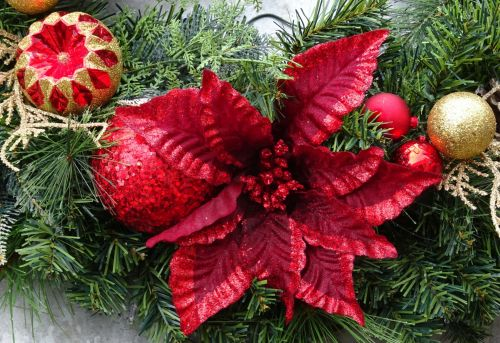 Baubles And Red Christmas Flower