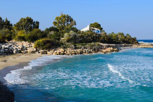 įlanka,Cove,jūra,kranto,vila,papludimys,bangos,kraštovaizdis,turizmas,pakrantė,vaizdingas,peizažas,protaras,Kipras,vaizdingas,Viduržemio jūros