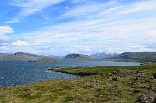 įlanka,dangus,kalnai,fjordas,žolė,kranto,iceland,banginis fjordas,peizažas,lauke,Rokas,gamta,Europa,vanduo,vasara,samanos,mėlynas,balta,debesys