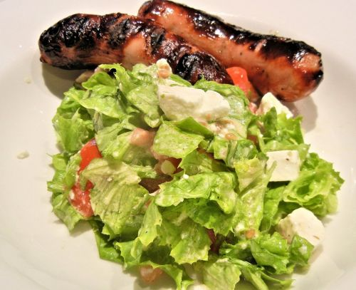 bbq sausage green salad feta cheese