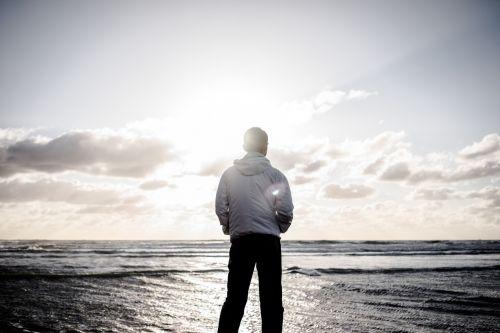 beach sunset man
