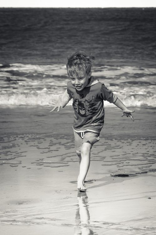 beach boy black and white