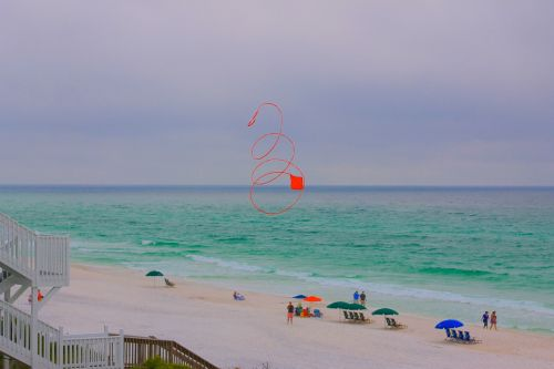 beach kite red