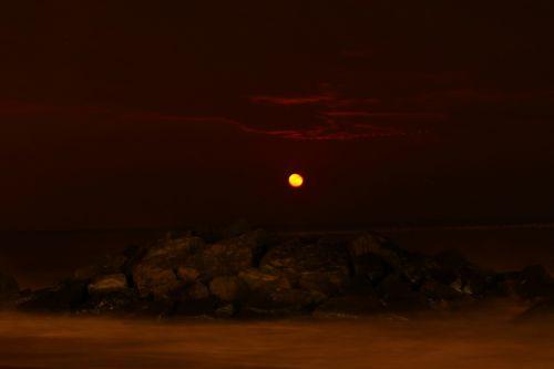 beach long exposure moon