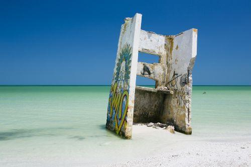 beach beach ruins blue