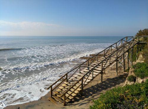 beach sea high tide