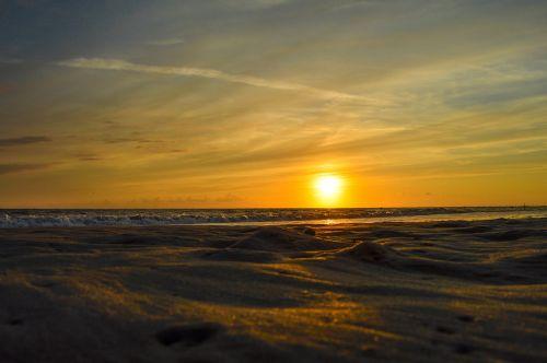 beach borkum sunset