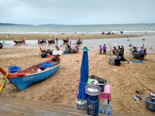 beach fishing boats thailand