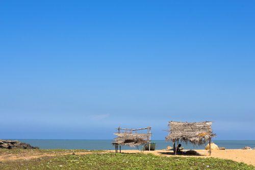 beach hut sky