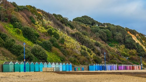 beach  huts  colorful