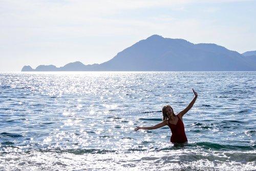 beach  mountain  water