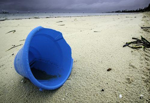 beach abandoned bucket