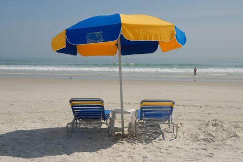 beach chairs umbrella beach